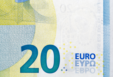 twenty euro banknote: twenty Euro banknote fragment macro, back side Stock Photo