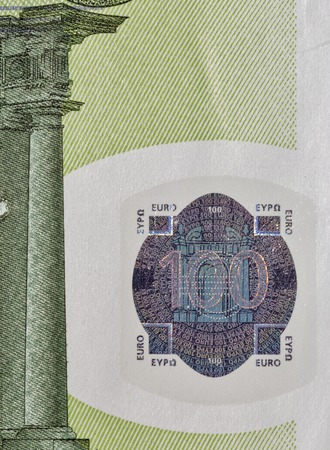 one hundred euro banknote: One hundred Euro banknote fragment closeup, front side