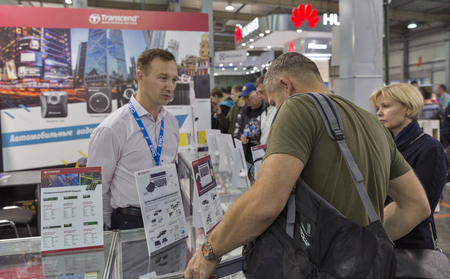 transcend: KIEV, UKRAINE - OCTOBER 09, 2016: People visit Transcend, a Taiwanese electronics manufacturer company booth during CEE 2016, the largest electronics trade show of Ukraine in KyivExpoPlaza EC. Editorial