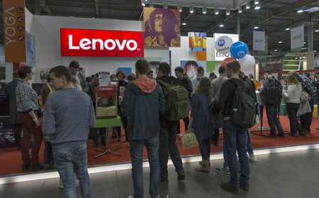 KIEV, UKRAINE - OCTOBER 09, 2016: Unrecognized people visit Lenovo, a Chinese multinational technology company booth during CEE 2016, the largest electronics trade show of Ukraine in KyivExpoPlaza EC.
