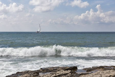 Seascape with modern sailing yacht in Istria, Croatia.