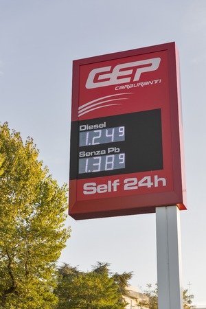 RIMINI, ITALY - SEPTEMBER 24, 2016: Petrol price electronoc display on GEP or General Esquarian Petrol company self service station. It is multinational petroleum, gas and transporting corporation.