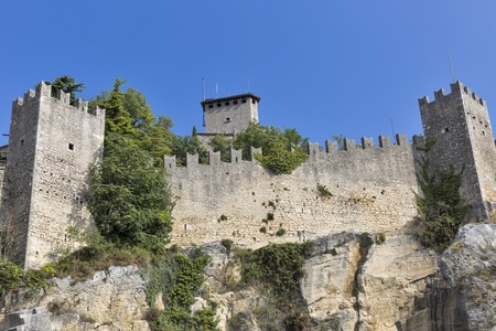 The walls of Guaita fortress, the oldest and the most famous tower on San Marino. Editorial