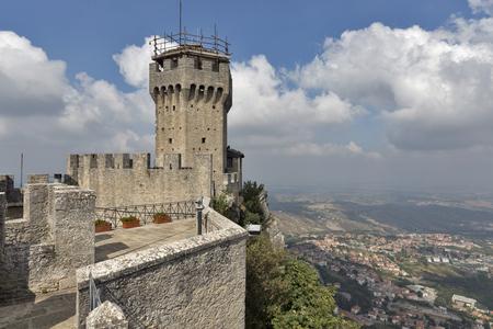 Castello della Cesta or Cesta tower, one of three fortress of San Marino. Stock Photo