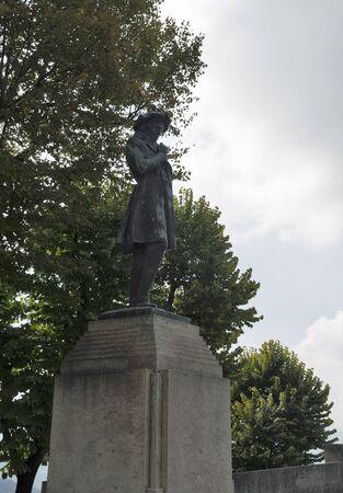 political economist: Viale Antonio Onofri with statue of economist Melchiorre Delfico in Republic of San Marino.