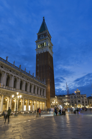 Campanile of St Mark church on San Marco square at night in Venice, Italy.