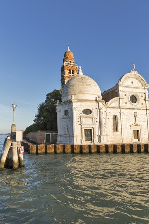 San Michele cemetery church in Venice, Italy. View from lagoon.