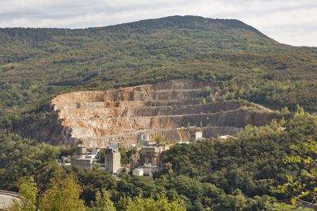 blasting: Mountain stone quarry close to Solkan in Western Slovenia. Stock Photo