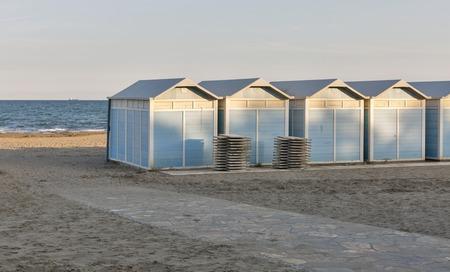 lido: Empty Lido resort beach huts in autumn, Venice, Italy.