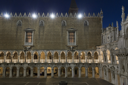 A view of the courtyard inside the Doges palace at night in Venice, Italy.