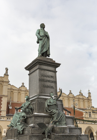 Adam Mickiewicz, greatest Polish Romantic poet of the 19th century, monument in Krakow, Poland. It is a favourite meeting place at the Main Market Square in the Old Town district.