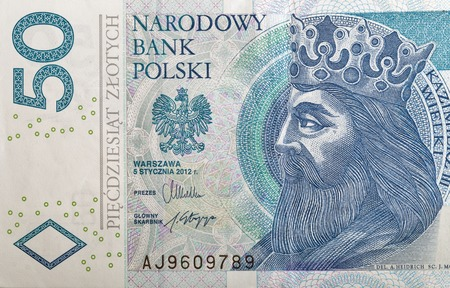 casimir: Polish money bill fifty zloty macro with portrait of King of Poland Casimir III the Great.