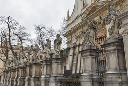 Saints Peter and Paul Church facade in Krakow, Poland.