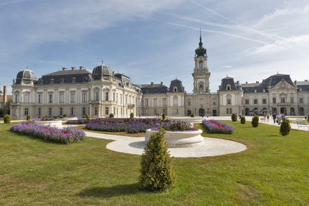 KESZTHELY, HUNGARY - SEPTEMBER 29, 2016: Unrecognized people visit Festetics Palace. The building now houses the Helikon Palace Museum. Keszthely is located on the western shore of Lake Balaton. Editoriali