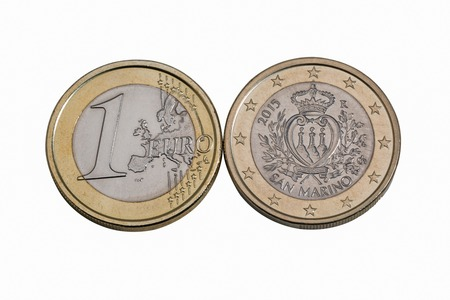 euromoney: One euro San Marino coins macro isolated on white background