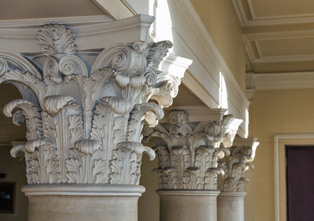 conservatory: Interior classical architectural column closeup Stock Photo