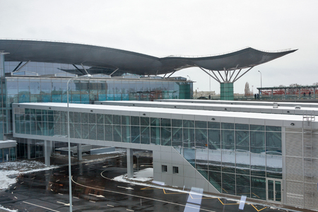 d: BORYSPIL, UKRAINE - FEBRUARY 02, 2015: Boryspil International Airport Terminal D building. It is the country largest airport, serving passenger air traffic with over 8 million passengers per year. Editorial