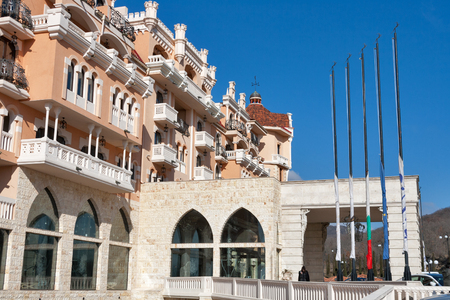 ELENITE, BULGARIA - FEBRUARY 11, 2015: Royal Castle luxury hotel facade. It is the first 5 star superior luxury hotel on the Black Sea Coast, opened in 2011, owned by Victoria Group.