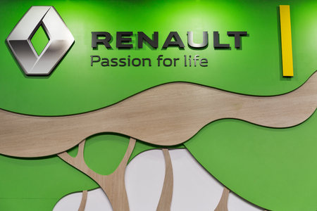 ze: KIEV, UKRAINE - APRIL 07, 2017: Renault hybrid car booth closeup at 2nd International Trade Show of Electric and Hybrid Vehicles Plug-In Ukraine in KyivExpoPlaza venue. Editorial