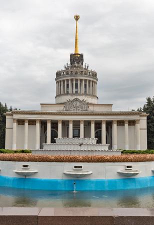 Central pavilion of the National Expocenter of Ukraine, architectural model of the Soviet era. Kiev, Ukraine.