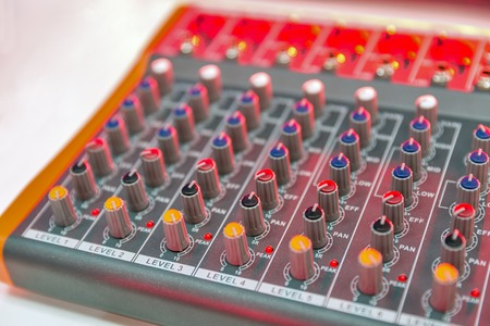 colorful audio mixing console closeup
