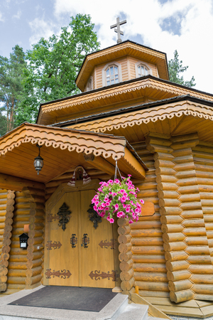 Ukrainian traditional orthodox wooden church in summer