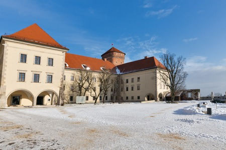 Yard square of Wawel castle in Krakow old town, Poland. Sunny winter day landscape.