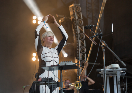 vocalist: KIEV, UKRAINE - JUNE 29, 2017: Popular Ukrainian experimental electro folk band ONUKA and its leader and vocalist Nata Zhyzhchenko performs at the Atlas Weekend Festival in National Expocenter. Editorial