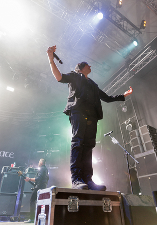 vocalist: KIEV, UKRAINE - JUNE 29, 2017: Popular Canadian post grunge rock band Three Days Grace and its frontman and vocalist Matt Walst performs at the Atlas Weekend Festival in National Expocenter. Editorial