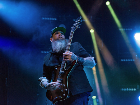 KIEV, UKRAINE - JUNE 29, 2017: Popular Canadian post grunge rock band Three Days Grace and its lead guitarist Barry Stock performs live at the Atlas Weekend Festival in National Expocenter. Redakční