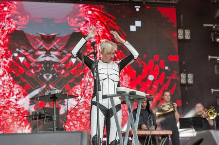 KIEV, UKRAINE - JUNE 29, 2017: Popular Ukrainian experimental electro folk band ONUKA and its leader and vocalist Nata Zhyzhchenko live performs at the Atlas Weekend Festival in National Expocenter.