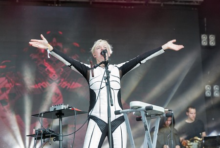 KIEV, UKRAINE - JUNE 29, 2017: Popular Ukrainian experimental electro folk band ONUKA and its leader and vocalist Nata Zhyzhchenko performs at the Atlas Weekend Festival in National Expocenter. Editorial