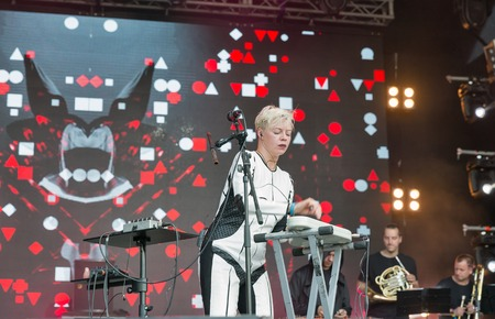electronic music: KIEV, UKRAINE - JUNE 29, 2017: Popular Ukrainian experimental electro folk band ONUKA and its leader and vocalist Nata Zhyzhchenko live performs at the Atlas Weekend Festival in National Expocenter.