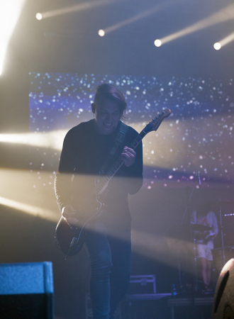 electronic music: KIEV, UKRAINE - JULY 02, 2017: Russian metalcore rock band Amatory performs live at the Atlas Weekend Festival in National Expocenter. Editorial