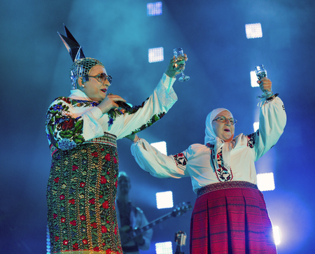voices: KIEV, UKRAINE - JUNE 28, 2017: Popular Ukrainian dance comedy singer Andriy Danylko better known for his drag stage persona Verka Serduchka performs at Atlas Weekend Festival in National Expocenter.