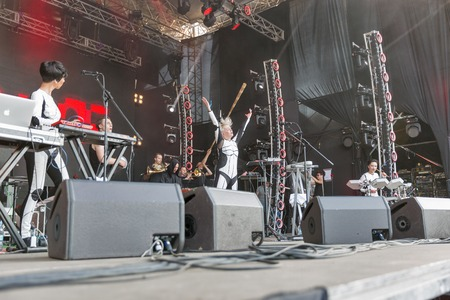 electronic music: KIEV, UKRAINE - JUNE 29, 2017: Popular Ukrainian experimental electro folk band ONUKA and its leader and vocalist Nata Zhyzhchenko performs live at the Atlas Weekend Festival in National Expocenter.