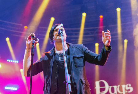 KIEV, UKRAINE - JUNE 29, 2017: Popular Canadian post grunge rock band Three Days Grace and its frontman and vocalist Matt Walst performs live at the Atlas Weekend Festival in National Expocenter.