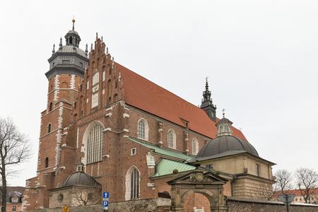 Roman catholic 14th century church Corpus Christi Basilica in Jewish district Kazimierz. Krakow, Poland.
