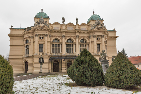 Winter Juliusz Slowacki Theater in the Old Town district of Krakow, Poland. Built from 1891, opened in 1893. Stock Photo