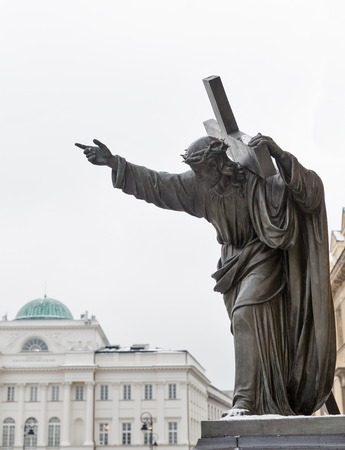A sculpture of Christ bearing his Cross closeup. Holy Cross Church in Warsaw, Poland. Stock Photo