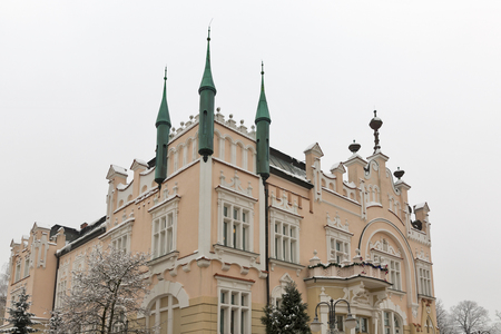 Elements of historical building expressed in the formulas of art nouveau architecture in winter. Rzeszow, Poland. 版權商用圖片