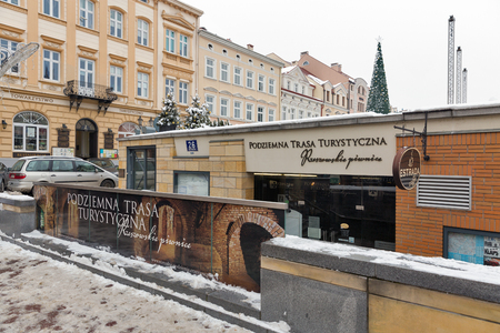 RZESZOW, POLAND - JANUARY 17, 2017: Entrance to underground tourist route under Market square. It is a popular tourist destination and the city itself dates back to middleages.