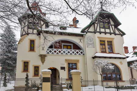 RZESZOW, POLAND - JANUARY 17, 2017: Beautiful villas on Pod Kasztanami alley in winter. Rzeszow is the largest city in southeastern Poland, located on Wislok River in Sandomierz Basin.