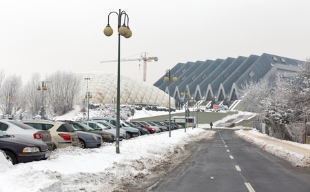 RZESZOW, POLAND - JANUARY 17, 2017: Parking Podpromie, Skatepark and Regional Sports and Entertainment Hall Center in winter. Rzeszow is the largest city in southeastern Poland. Editorial
