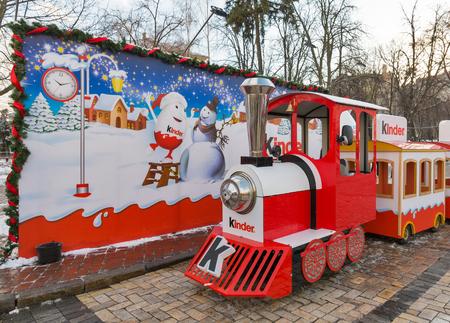 KIEV, UKRAINE - JANUARY 03, 2017: Kinder Chocolate Christmas installation on Sophia Square. Kinder Chocolate is a confectionery product brand line of Italian multinational confectionery Ferrero.
