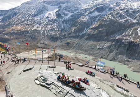 GROSSGLOCKNER, AUSTRIA - SEPTEMBER 23, 2017: Unrecognized people visit the observation platform of Kaiser Franz Joseph glacier. High Alpine Road in Austrian Alps. Editorial