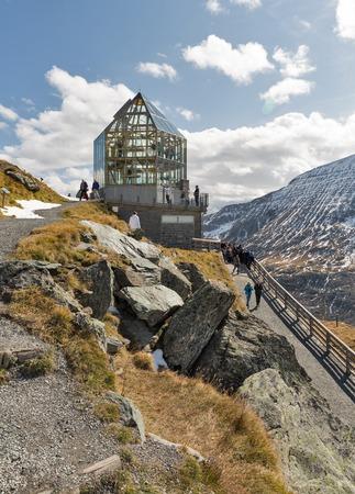 GROSSGLOCKNER, AUSTRIA - SEPTEMBER 23, 2017: Unrecognized people visit Wilhelm Swarovski Observation Tower on Kaiser Franz Josef glacier. Grossglockner High Alpine Road in Austrian Alps.