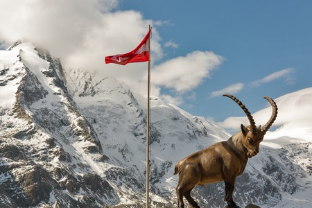 Alpine ibex statue and Austrian flag on top of mountain at Grossglockner High Alpine Road area in Austria.