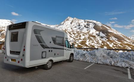 GROSSGLOCKNER, AUSTRIA - SEPTEMBER 23, 2017: Peugeot auto sleeper Nuevo parked on the observation platform. High Alpine Road in Austrian Alps close to Kaiser Franz Josef glacier. Editorial