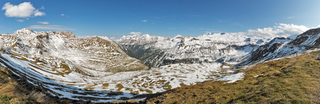 Mountains landscape Grossglockner High Alpine Road panorama in Austrian Alps. Stock Photo